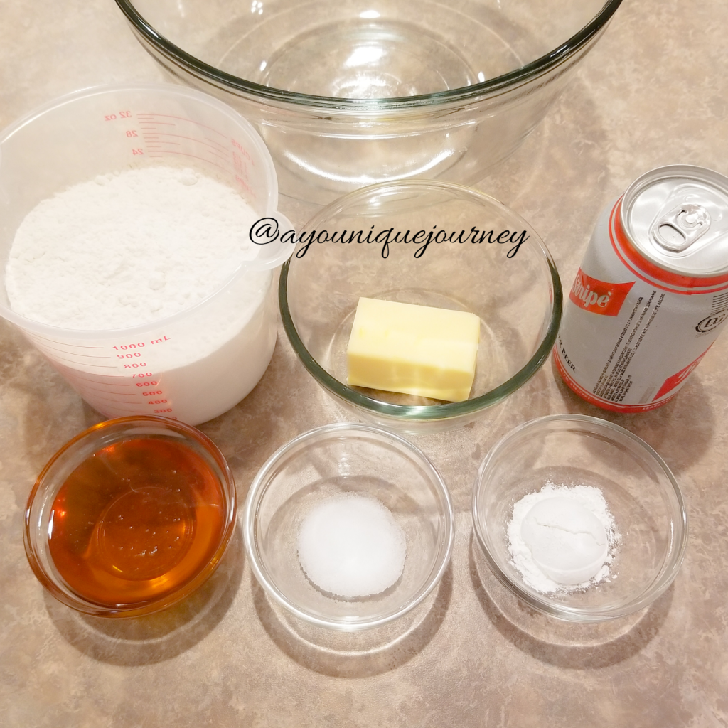 All the ingredients used to make the Honey Beer Bread.
