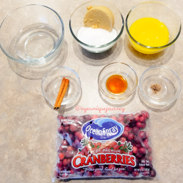 All the ingredients to make the Cranberry Sauce.