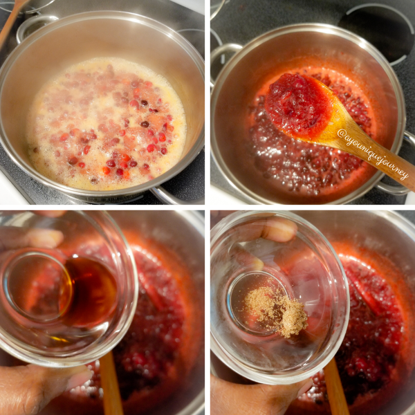 Allowing the cranberries to boil and start popping, then adding the vanilla extract and ground nutmeg to finalize the Cranberry Sauce.