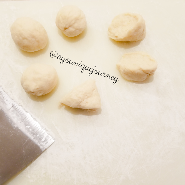 Cut the dough into six pieces to make Jamaican Fried Dumplings.