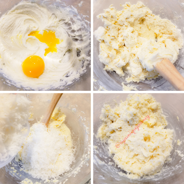 Adding the egg yolk, orange juice and almond extract to the creamed butter. Mixing the flour evenly and adding the shredded coconuts to form the cookie mixture before putting it in the refrigerator.