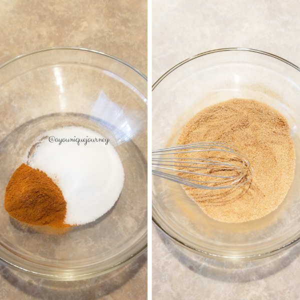 The cinnamon powder and granulated sugar to make the coating for the Snickerdoodle cookie dough.