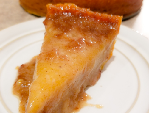 A slice of Jamaican Cornmeal Pudding
