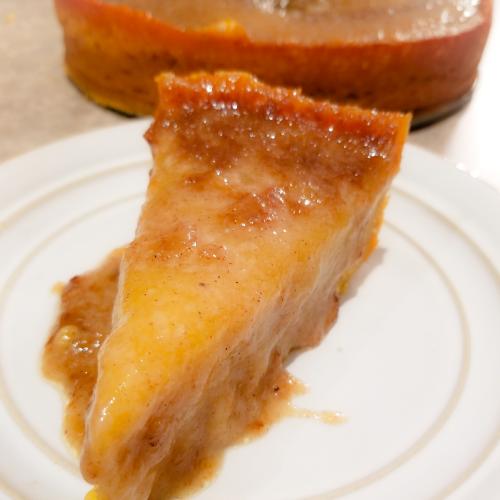 A slice of Jamaican Cornmeal Pudding