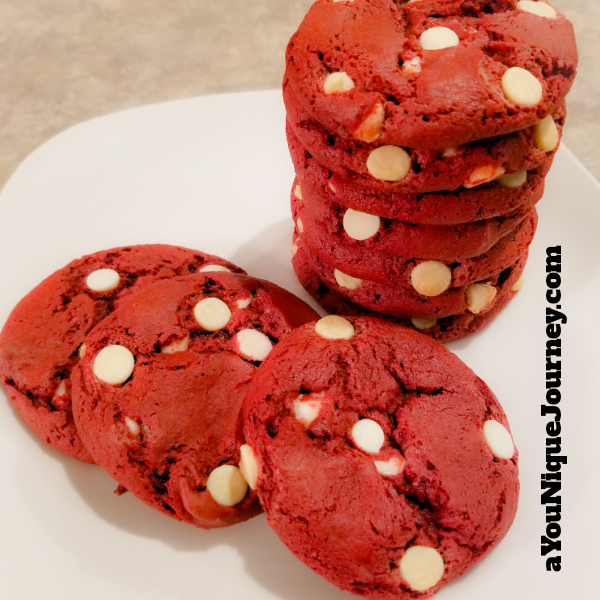Some delicious, soft and chewy Red Velvet Cookies.