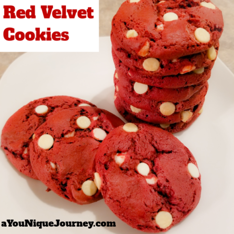 Red Velvet Cookies on a white plate.