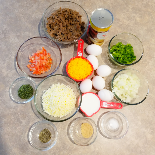 All the ingredients to make the Breakfast Casserole Recipe.