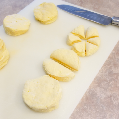 Cut each biscuit into 6 pieces.