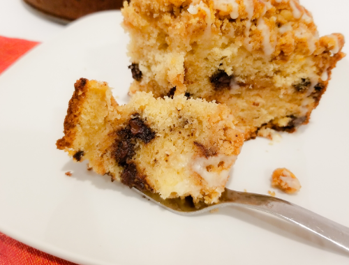 A slice of Chocolate Chip Coffee Cake.