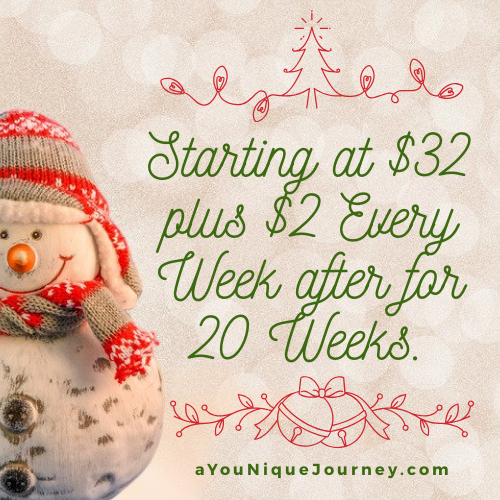 Third Christmas Savings Plan is Starting at $32.00 plus $2.00 every week after for 20 Weeks.