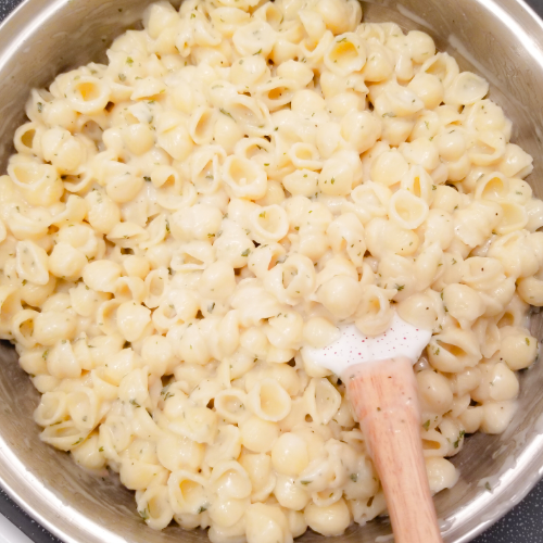 Tossing the mini shell pasta in the creamy garlic pasta sauce.