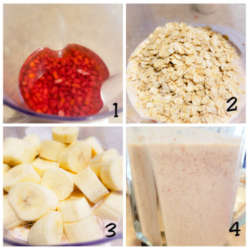 Blending the raw peanuts, oats and diced green bananas.