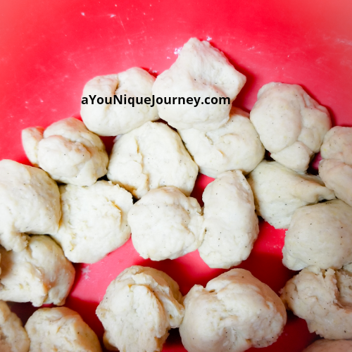 Dough separated into small pieces.