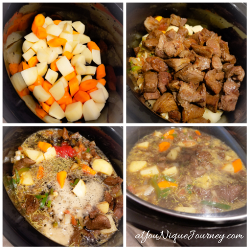 Adding the items to the slow cooker to make the Guinness Beef Stew.