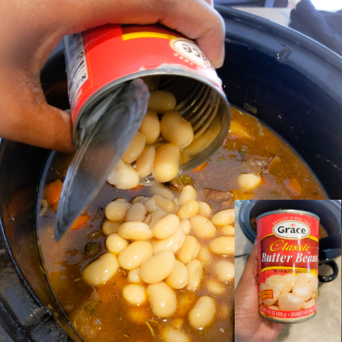 Adding the butter beans to finalize the Guinness Beef Stew.