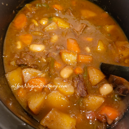 Stirring the Guinness Beef Stew.