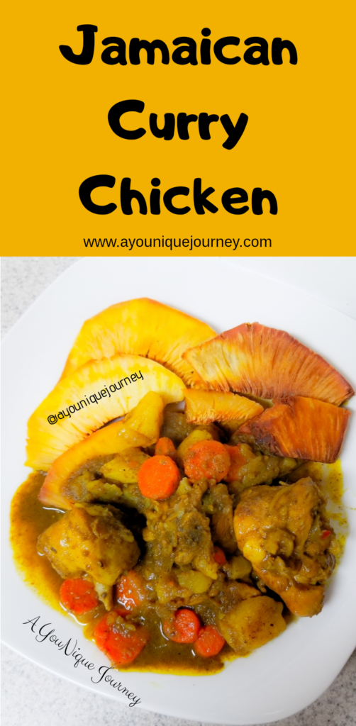 Original Jamaican Curry Chicken with Fried Breadfruit.