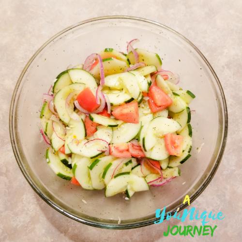 Cucumber Tomato Salad Recipe in a bowl.