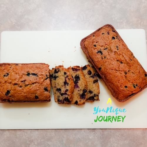 Two loaves of Blueberry Zucchini Bread.