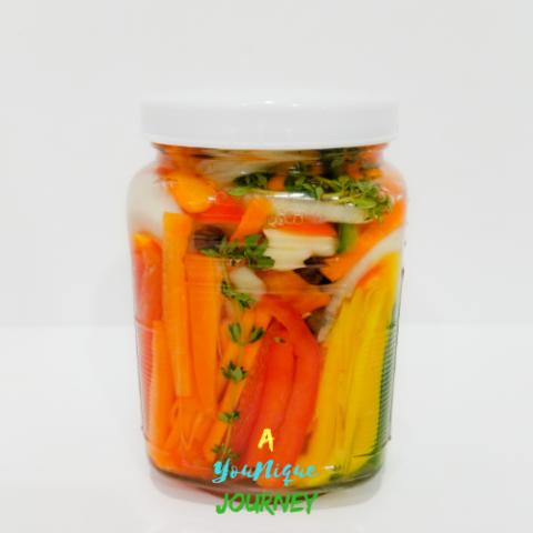 Jamaican Escovitch Pickle Sauce Recipe in a Mason Jar