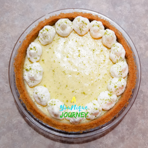 Lime zest sprinkles on top of the Key Lime Pie.