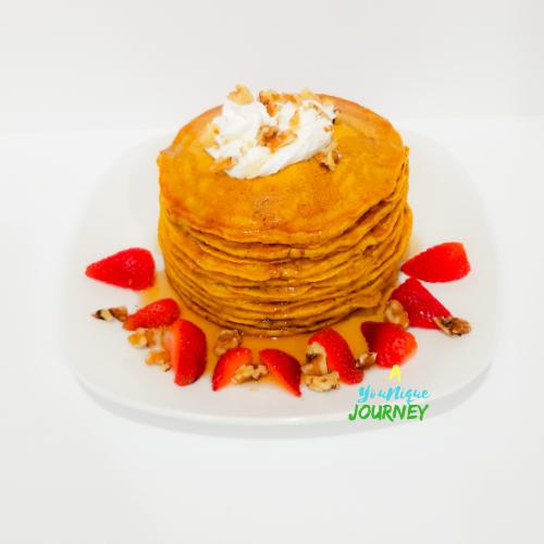 Pumpkin Pancakes in a white plate.