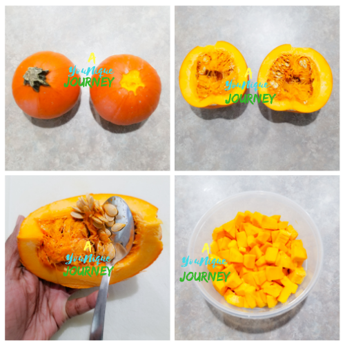 Cutting, scooping out the seeds and dicing up the sugar pie pumpkin.