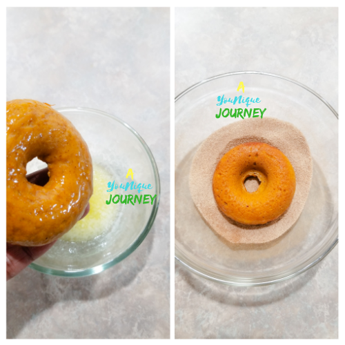 Dip the top of the donut in the melted butter and then into the cinnamon sugar coating.