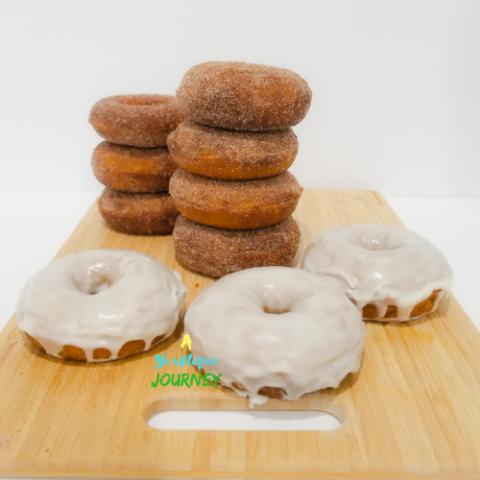Baked Pumpkin Donuts with cinnamon sugar coating and vanilla glaze.