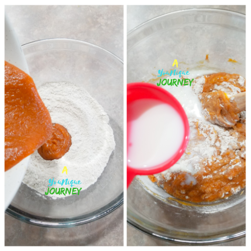 Adding the wet ingredients to the dry ingredients. Then add the milk and mix together.
