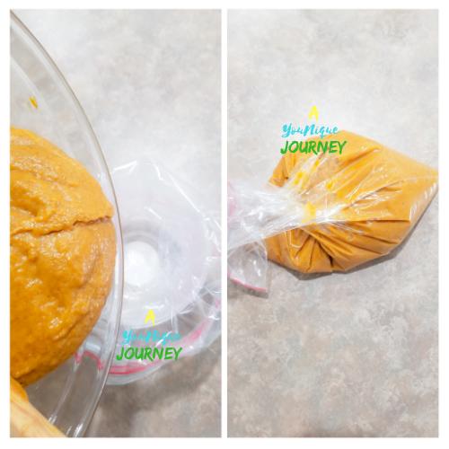 Pour the pumpkin batter into a large Ziploc bag.