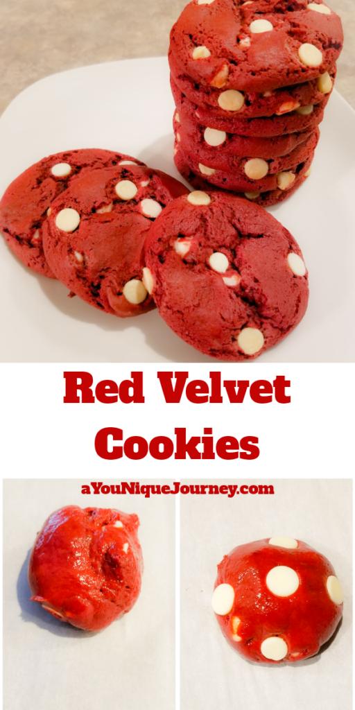 Pinterest Image for Red Velvet Cookies Recipe.