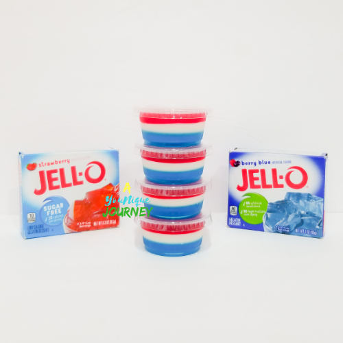 Four Red White & Blue Jello Shots.