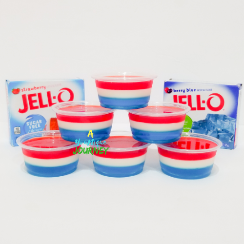 Six Red White & Blue Jello Shots with the 2 flavored gelatins.