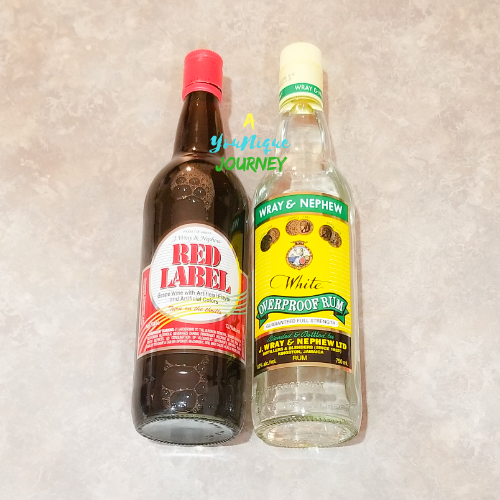 Red Labels Wine and Wray & Nephew Overproof White Rum used in Jamaican Black Fruit Cake
