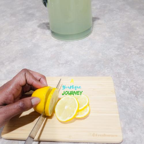 Slicing lemons.