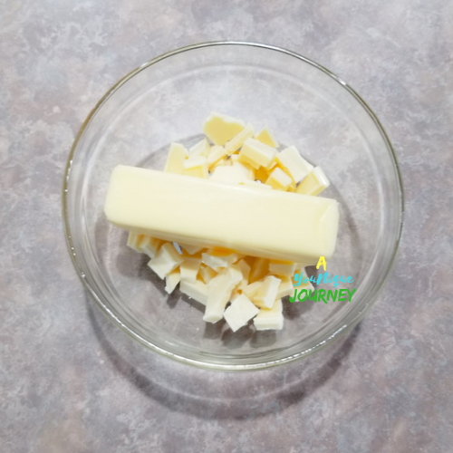 About to melt the white chocolate and butter in the microwave.