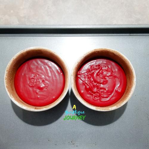 Red velvet molten lava cake batter ready to be baked.