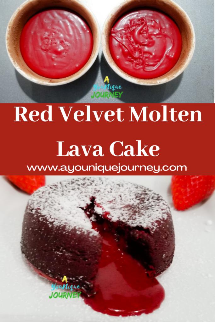Pinterest Image for Red Velvet Molten Lava Cake.