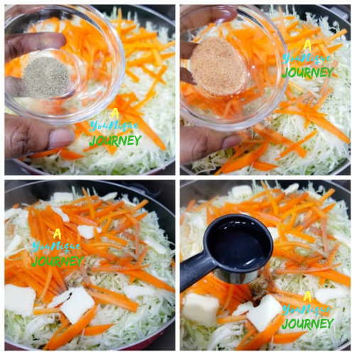 Adding the seasoning, butter and water to steam the cabbage and saltfish.