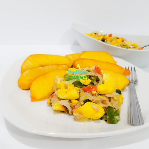 Ackee and Saltfish with fried breadfruit.