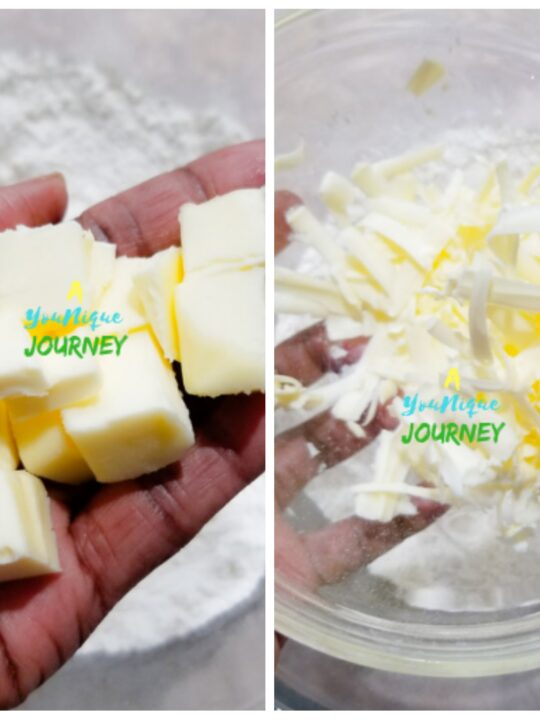 Cold butter in cubes or grated butter.