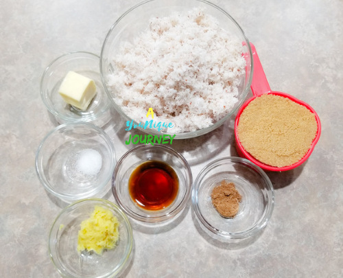 All the ingredients to make the the Jamaican Gizzada Filling.
