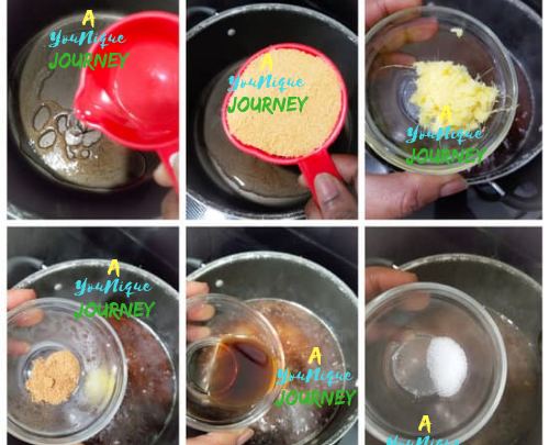 Adding the ingredients to the pot to make the gizzada filling.