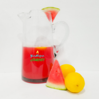 Watermelon Lemonade Recipe in a large pitcher.