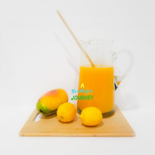 Mango Lemonade in a large pitcher.
